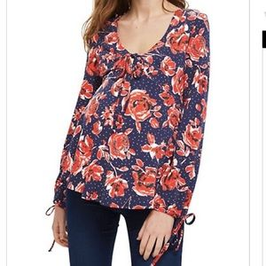 NEW Topshop maternity floral top red purple string